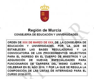 Borrador convocatoria de oposiciones de maestros murcia for Convocatoria maestros 2016