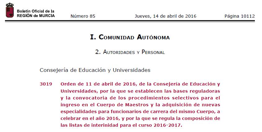 Convocatoria oficial de oposiciones de primaria murcia for Convocatoria maestros 2016