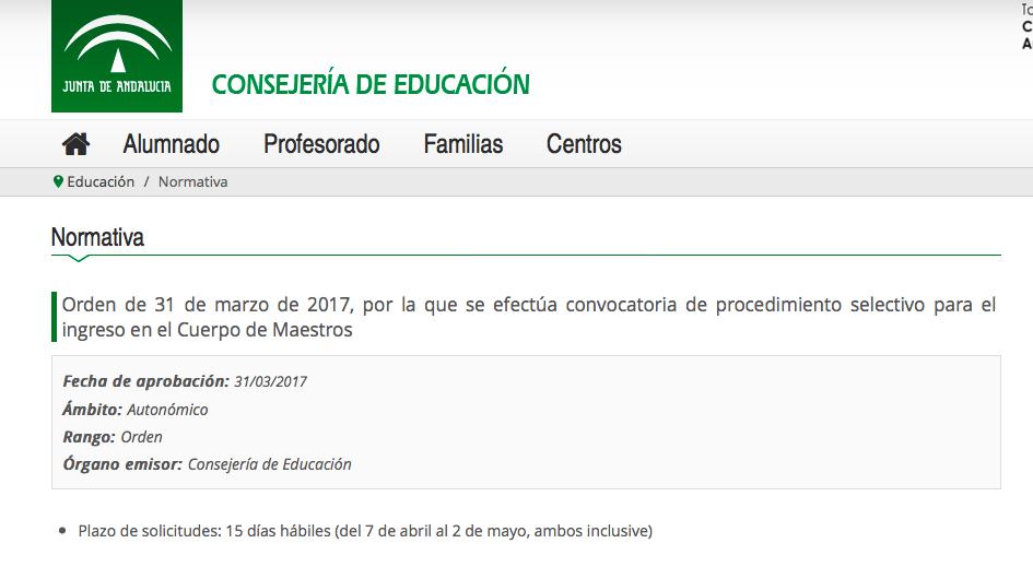 Publicada la convocatoria de oposiciones de maestros de for Convocatoria de docentes 2017