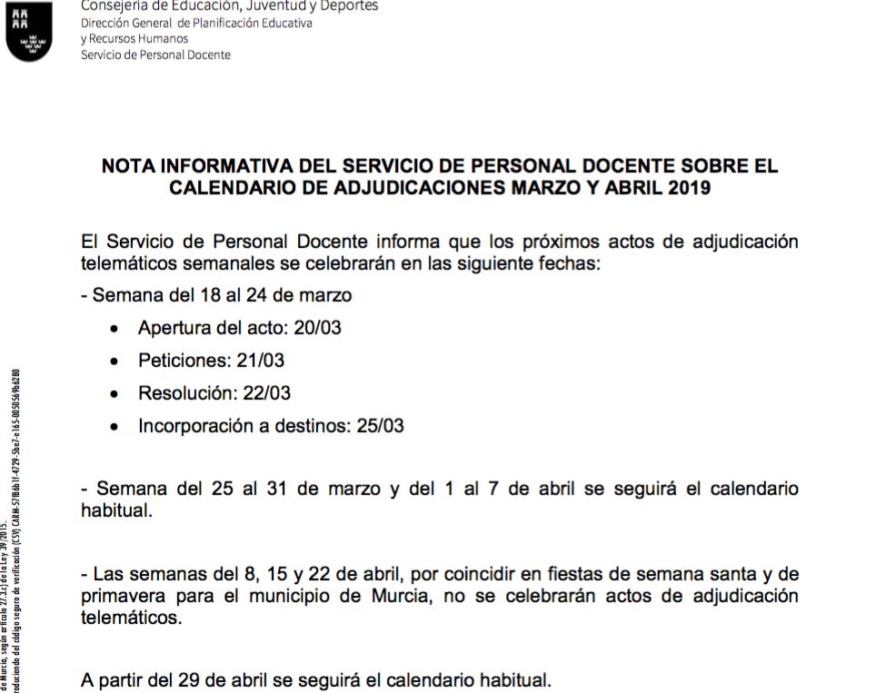 Calendario 2019 Murcia.Calendario De Adjudicaciones De Interinos Antes Y Despues De Semana